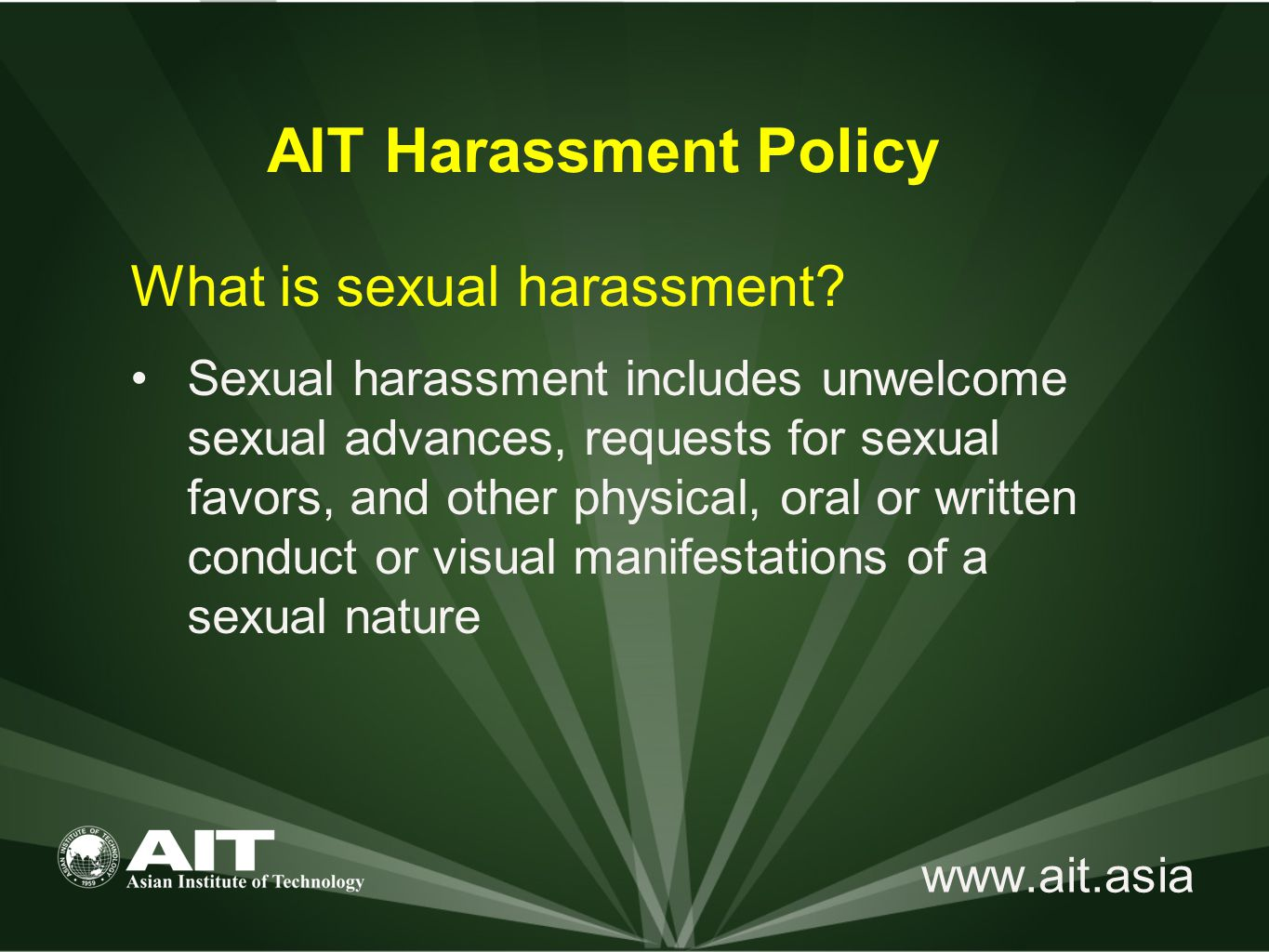 www.ait.asia What is sexual harassment.