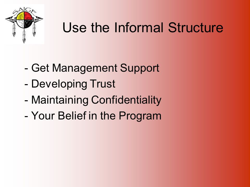 Use the Informal Structure - Get Management Support - Developing Trust - Maintaining Confidentiality - Your Belief in the Program