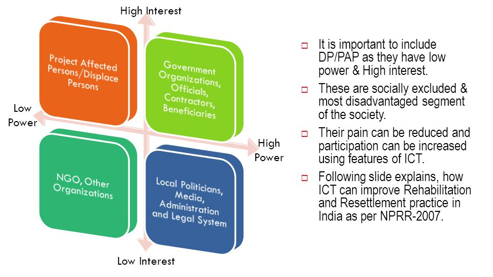 7 High Interest Low Interest Low Power High Power  It is important to include DP/PAP as they have low power & High interest.