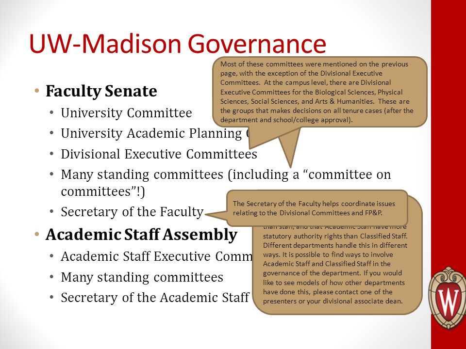 "Faculty Senate University Committee University Academic Planning Council Divisional Executive Committees Many standing committees (including a ""commit"