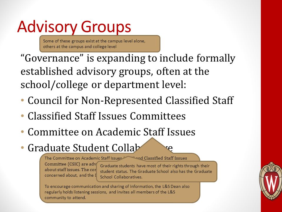 Advisory Groups Governance is expanding to include formally established advisory groups, often at the school/college or department level: Council for Non-Represented Classified Staff Classified Staff Issues Committees Committee on Academic Staff Issues Graduate Student Collaborative Some of these groups exist at the campus level alone, others at the campus and college level The Committee on Academic Staff Issues (CASI) and Classified Staff Issues Committee (CSIC) are advisory groups that meet regularly with the Dean about staff issues.