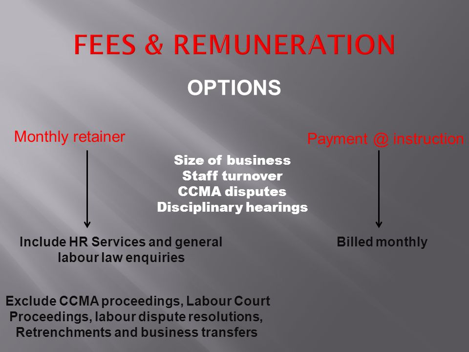 Retrenchment Advisory Services Drafting of Section 188 Notices Drafting of Section 189 Notices Calculation of Severance pay Determination of Fairness