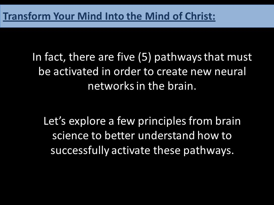 In fact, there are five (5) pathways that must be activated in order to create new neural networks in the brain. Let's explore a few principles from b