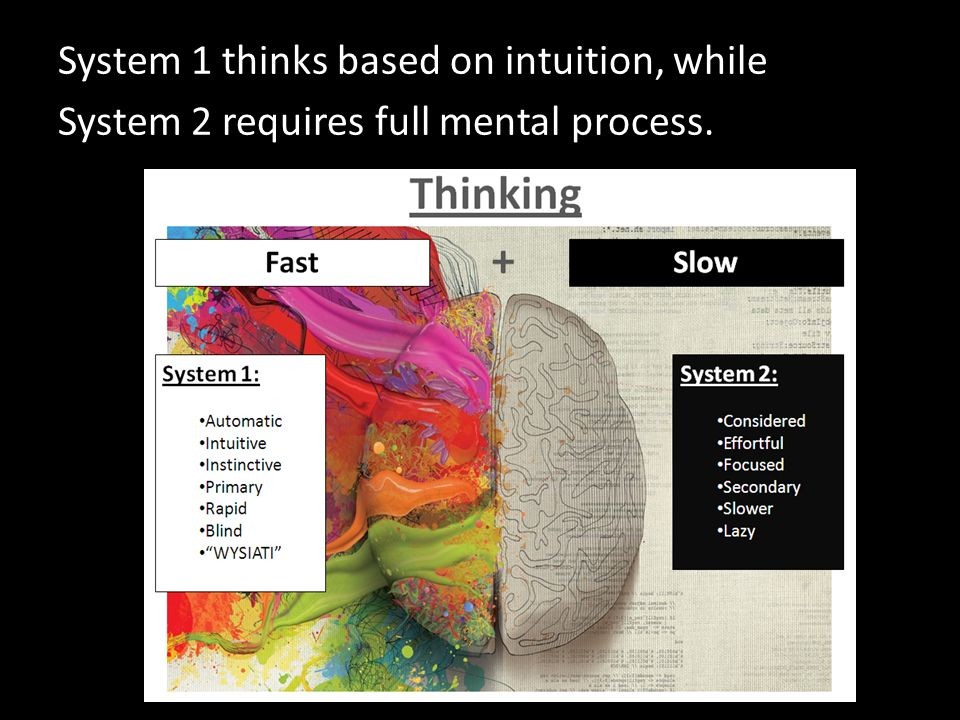 System 1 thinks based on intuition, while System 2 requires full mental process.