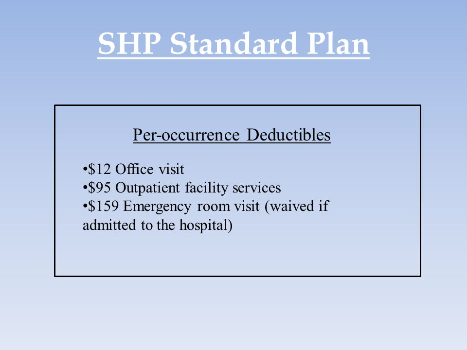 SHP Standard Plan Per-occurrence Deductibles $12 Office visit $95 Outpatient facility services $159 Emergency room visit (waived if admitted to the ho