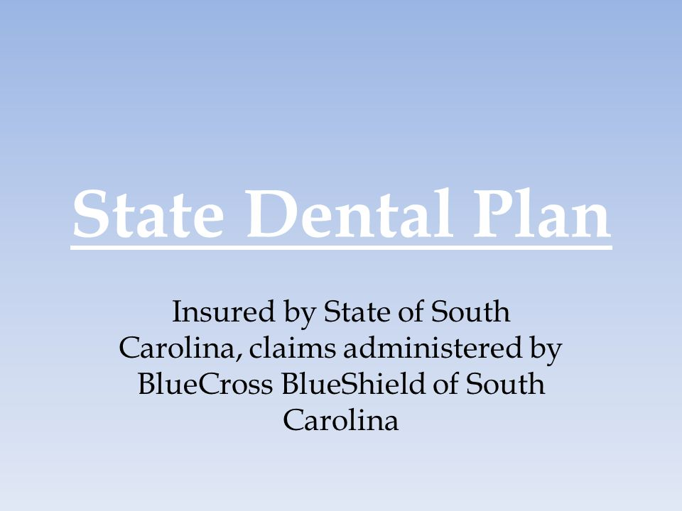 State Dental Plan Insured by State of South Carolina, claims administered by BlueCross BlueShield of South Carolina