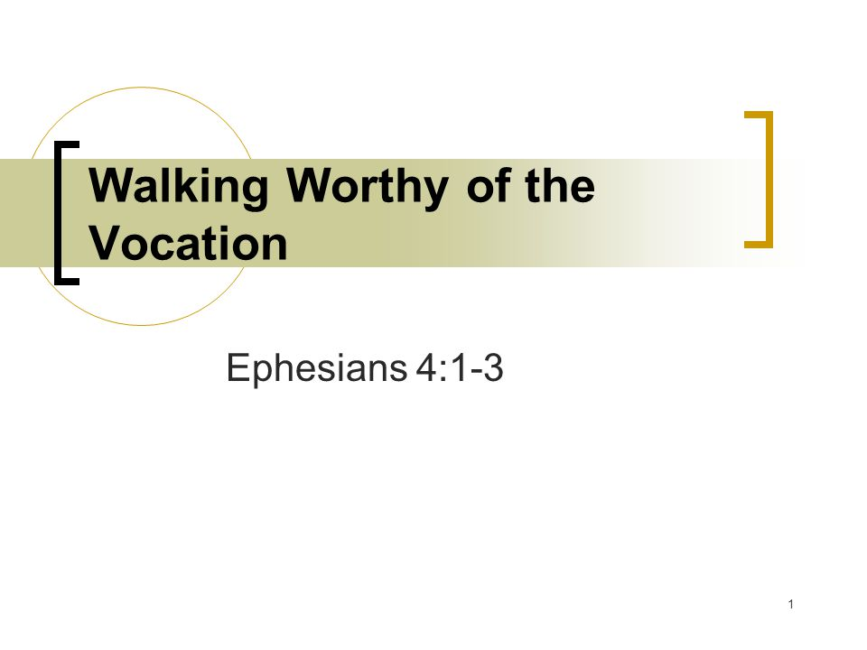 1 Walking Worthy of the Vocation Ephesians 4:1-3