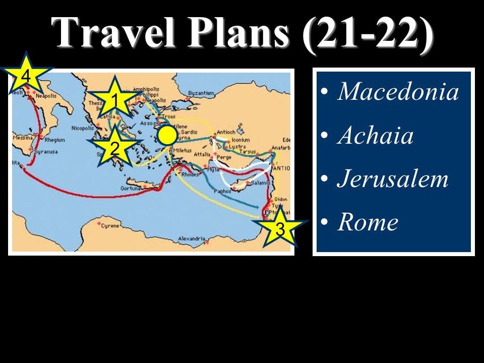 Travel Plans (21-22) Macedonia Achaia Jerusalem Rome 1 2 4 3