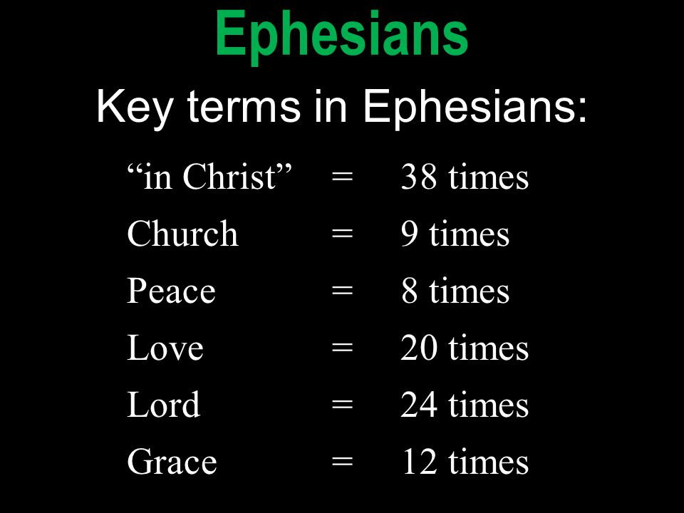 """in Christ""=38 times Church=9 times Peace=8 times Love=20 times Lord=24 times Grace=12 times ""in Christ""=38 times Church=9 times Peace=8 times Love=20"