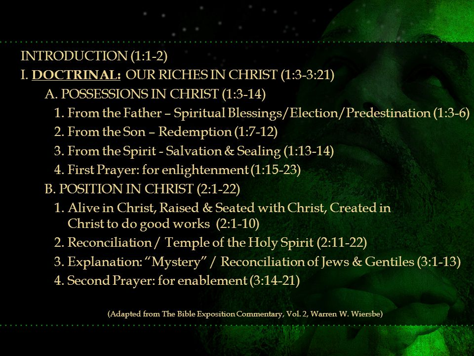 INTRODUCTION (1:1-2) I. DOCTRINAL: OUR RICHES IN CHRIST (1:3-3:21) A.