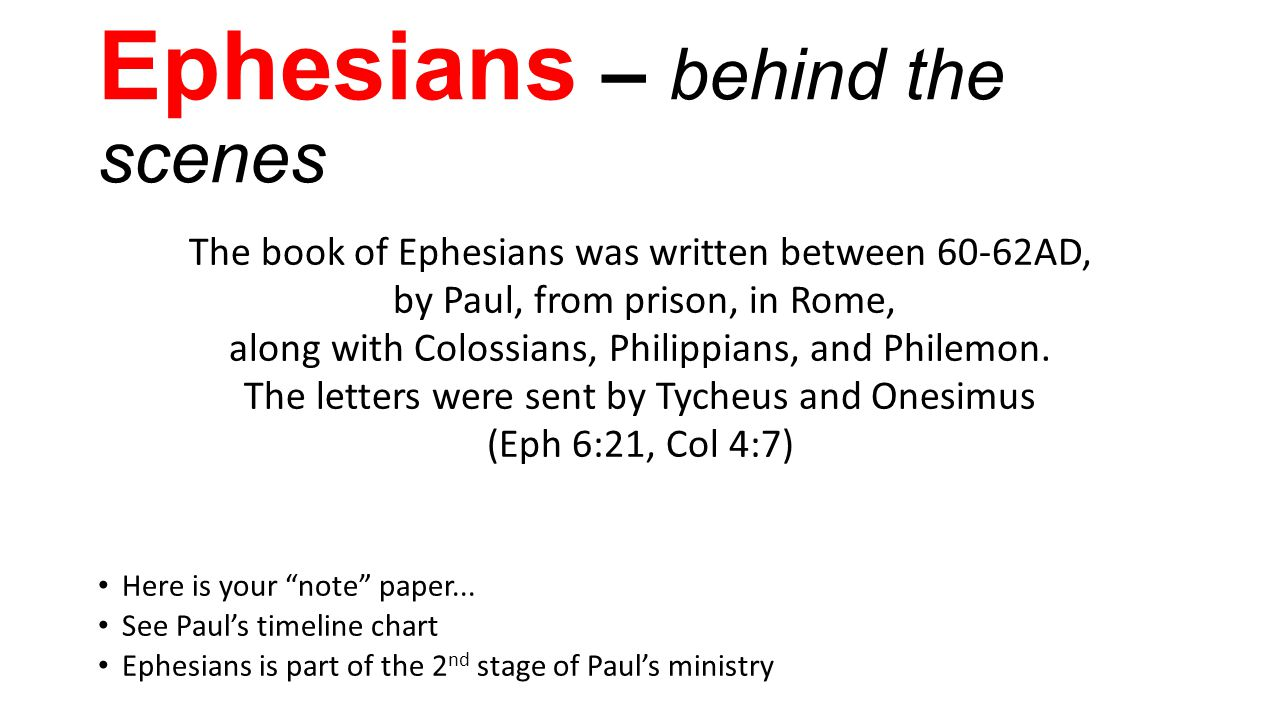 Ephesians – behind the scenes The book of Ephesians was written between 60-62AD, by Paul, from prison, in Rome, along with Colossians, Philippians, and Philemon.