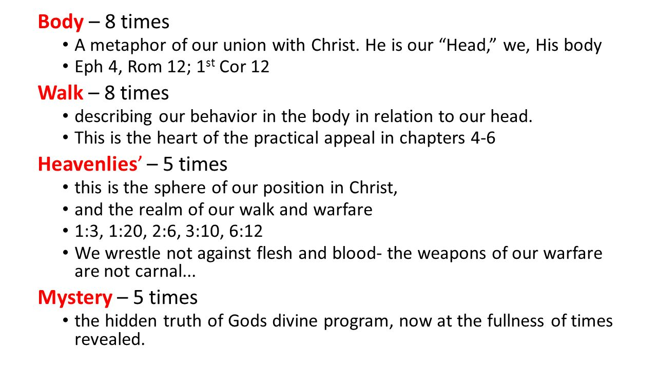 Body – 8 times A metaphor of our union with Christ.