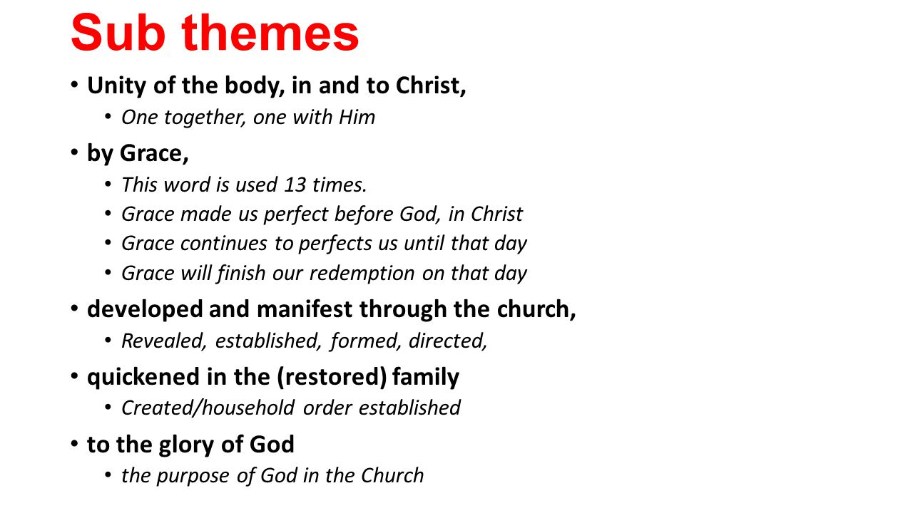 Sub themes Unity of the body, in and to Christ, One together, one with Him by Grace, This word is used 13 times.
