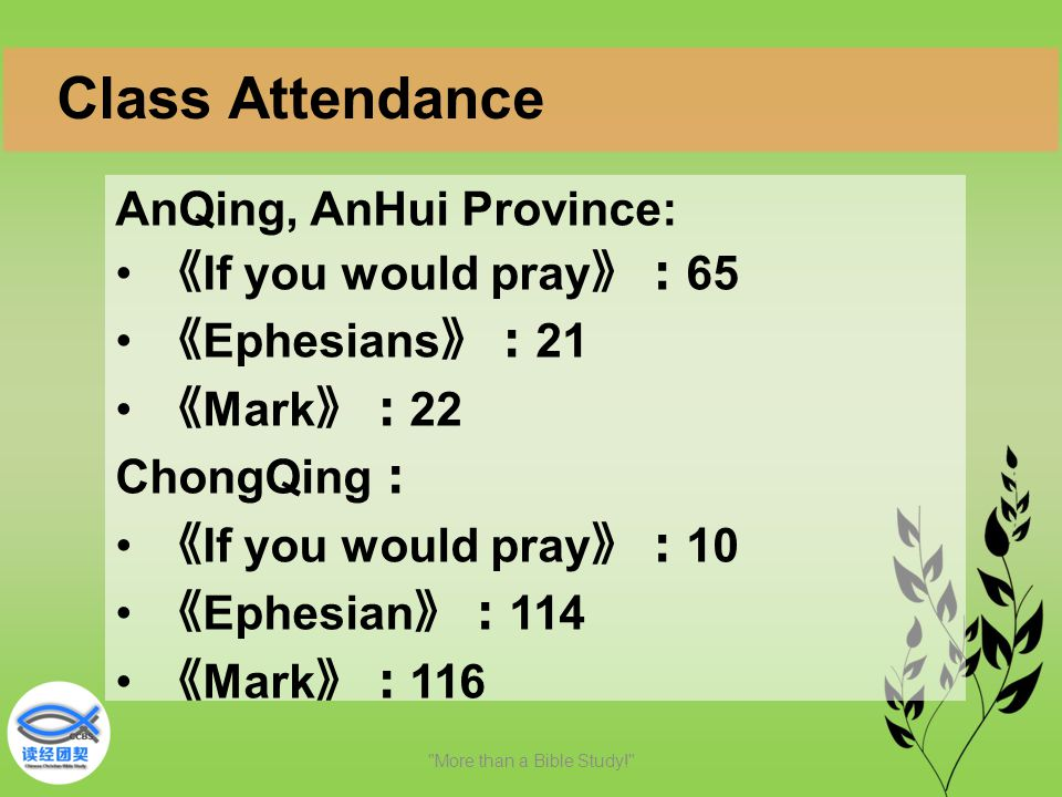 AnQing, AnHui Province: 《 If you would pray 》: 65 《 Ephesians 》: 21 《 Mark 》: 22 ChongQing : 《 If you would pray 》: 10 《 Ephesian 》: 114 《 Mark 》: 116 More than a Bible Study! Class Attendance