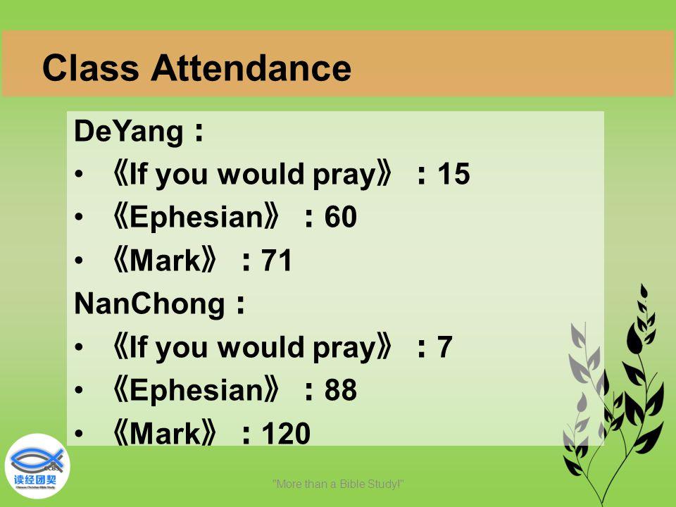 DeYang : 《 If you would pray 》: 15 《 Ephesian 》: 60 《 Mark 》: 71 NanChong : 《 If you would pray 》: 7 《 Ephesian 》: 88 《 Mark 》: 120