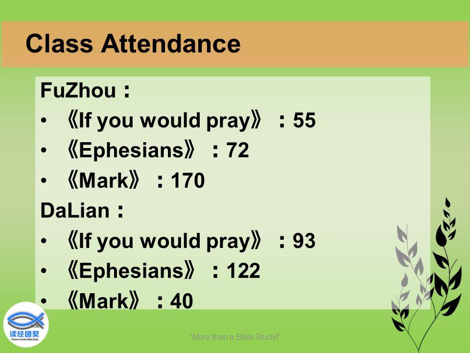 FuZhou : 《 If you would pray 》: 55 《 Ephesians 》: 72 《 Mark 》: 170 DaLian : 《 If you would pray 》: 93 《 Ephesians 》: 122 《 Mark 》: 40