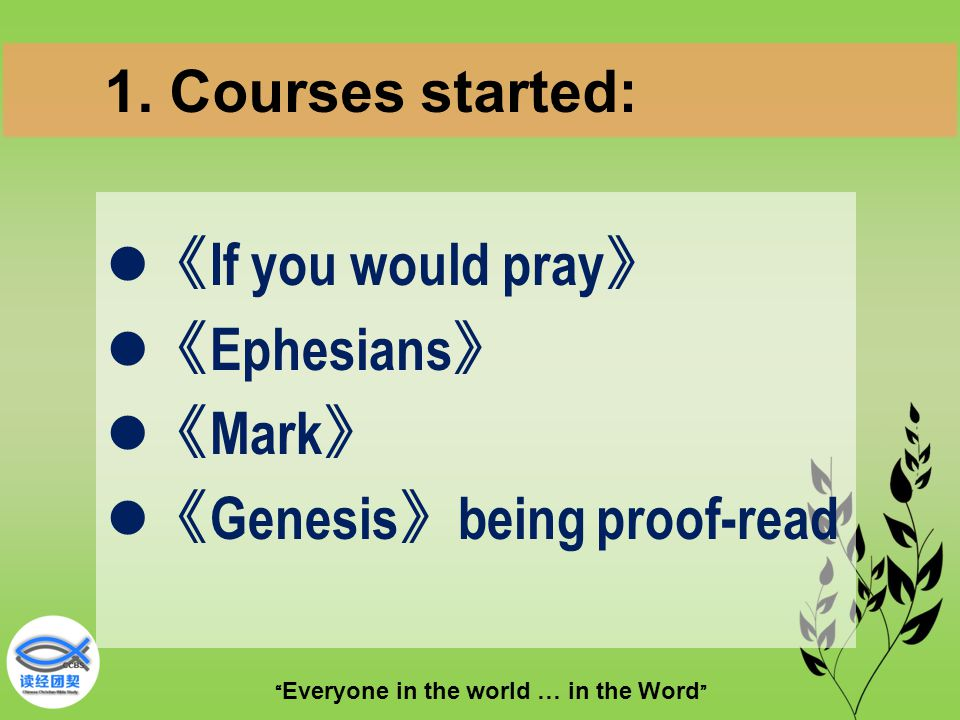 Everyone in the world … in the Word 《 If you would pray 》 《 Ephesians 》 《 Mark 》 《 Genesis 》 being proof-read 1.