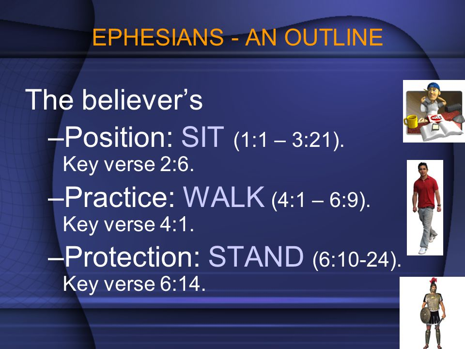 EPHESIANS - AN OUTLINE The believer's –Position: SIT (1:1 – 3:21). Key verse 2:6. –Practice: WALK (4:1 – 6:9). Key verse 4:1. –Protection: STAND (6:10