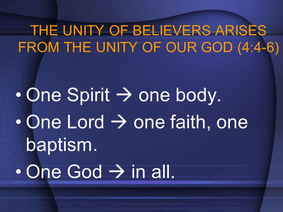 THE UNITY OF BELIEVERS ARISES FROM THE UNITY OF OUR GOD (4:4-6) One Spirit  one body. One Lord  one faith, one baptism. One God  in all.