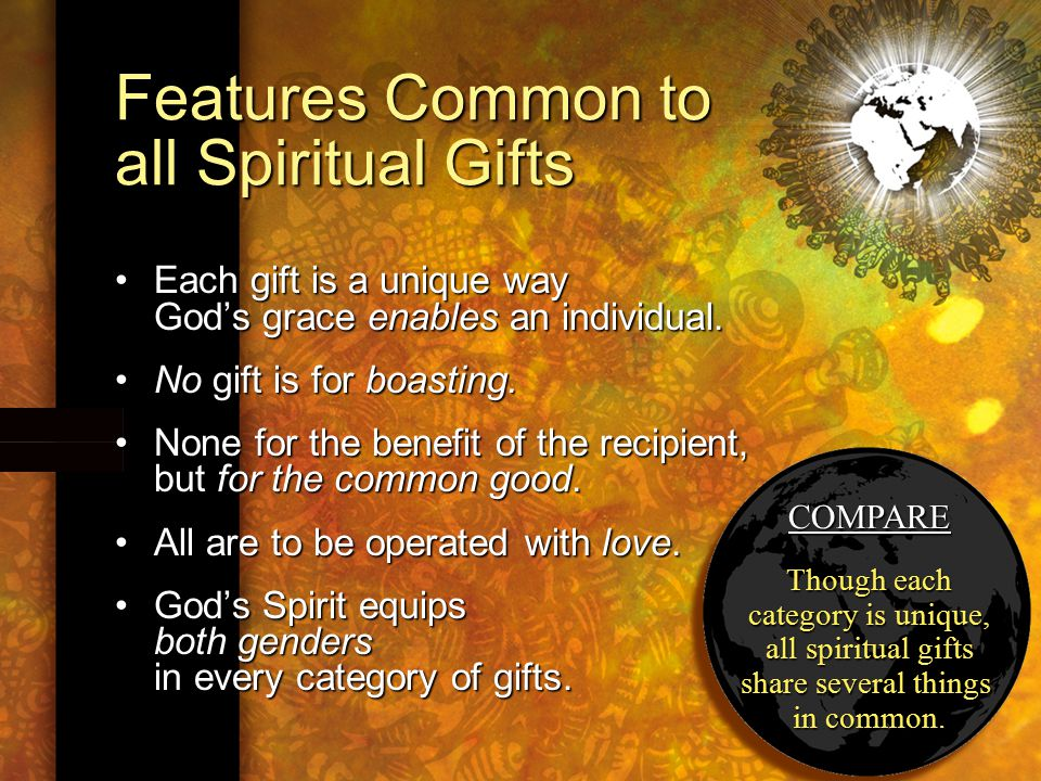 COMPARE Though each category is unique, all spiritual gifts share several things in common.