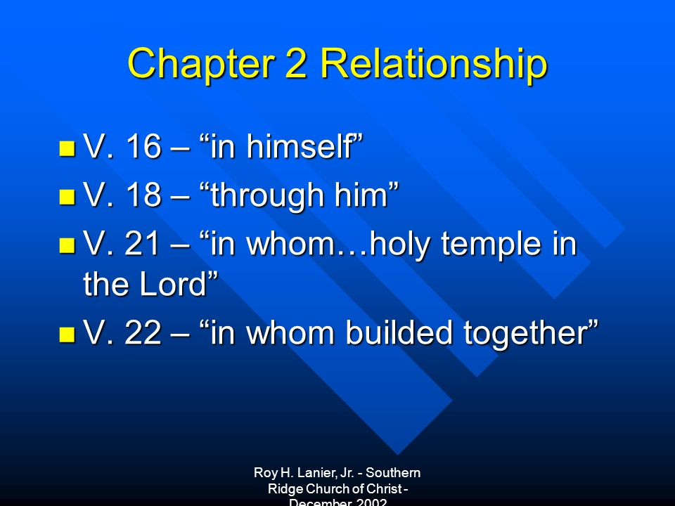 Roy H. Lanier, Jr. - Southern Ridge Church of Christ - December, 2002 Chapter 2 Relationship V.