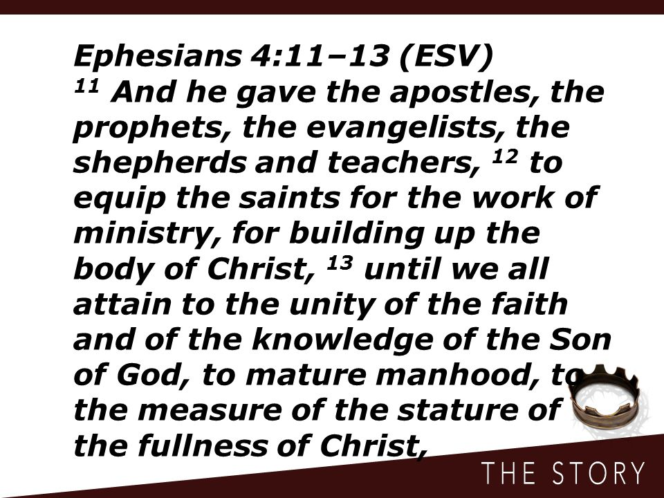 Ephesians 4:14–15 (ESV) 14 so that we may no longer be children, tossed to and fro by the waves and carried about by every wind of doctrine, by human cunning, by craftiness in deceitful schemes.