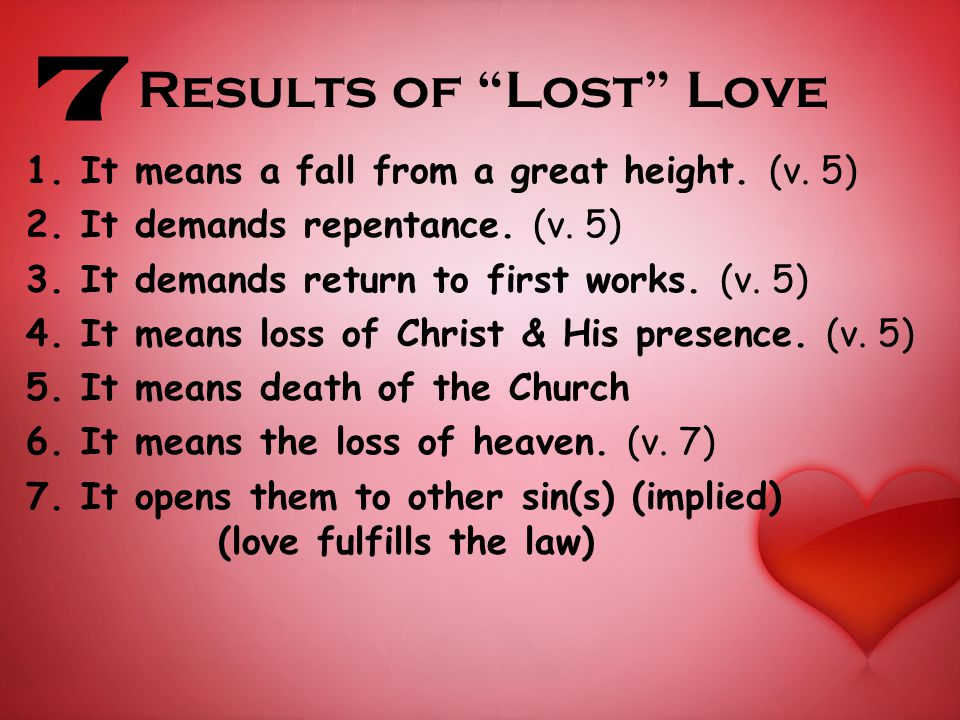 Results of Lost Love 1. It means a fall from a great height.