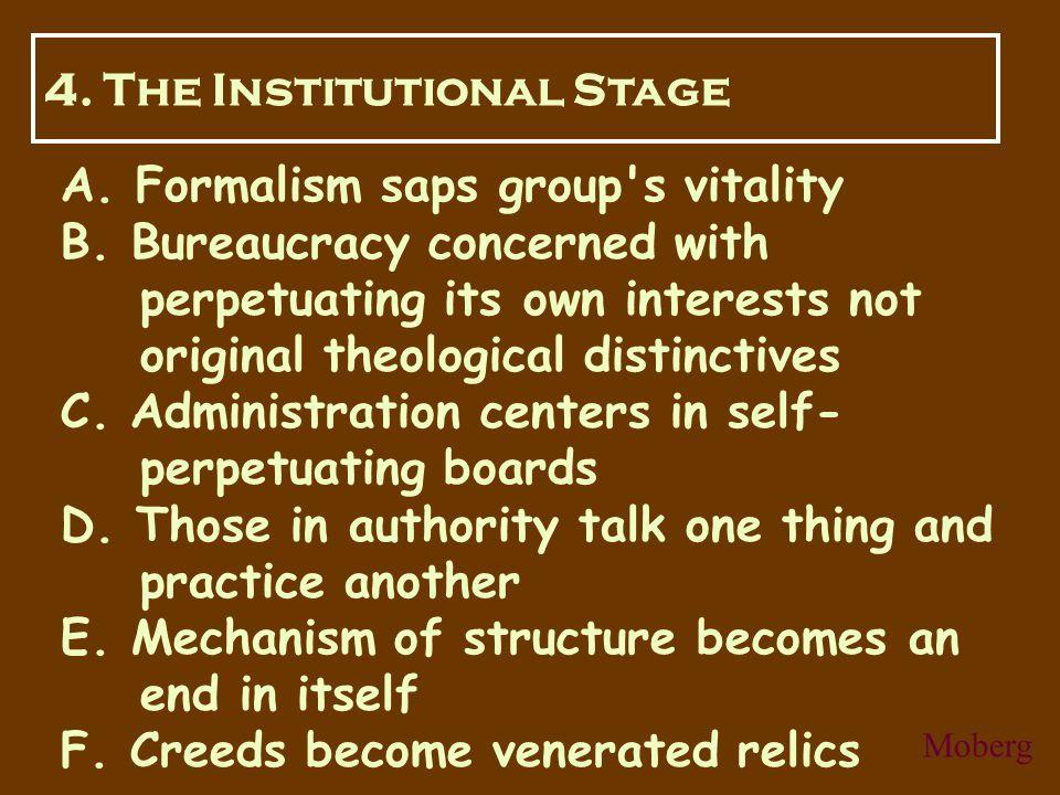 A. Formalism saps group s vitality B.