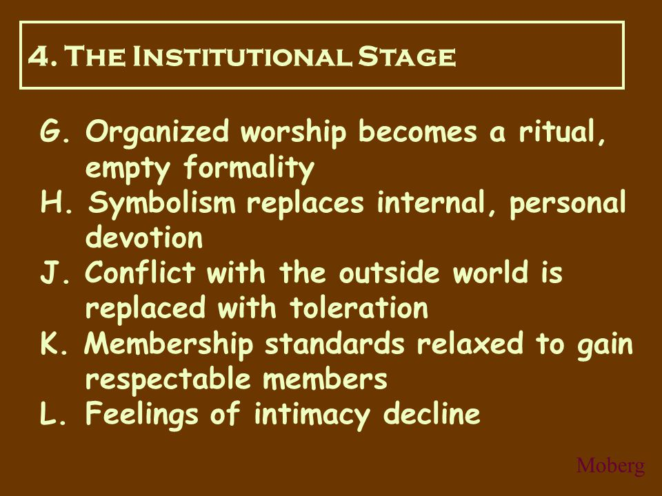 G. Organized worship becomes a ritual, empty formality H.