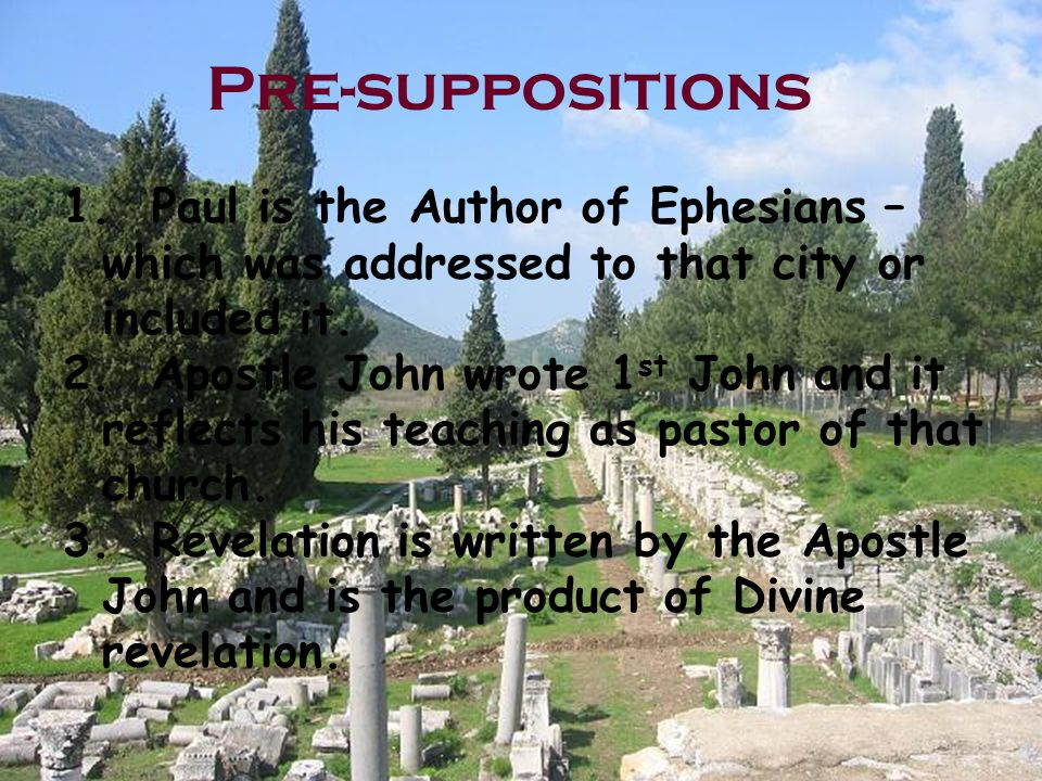 Challenges to the Church at Ephesus Epistle to the Ephesians 1.Commended for their love for the saints (1:15) 2.Unity is found in Christ (Implied love?) (2:11-18) 3.Paul's prayer for them is built around love (3:14-21) 4.They are to speak the truth in love (4:15) 5.Live a life of love patterned after Christ (5:2) 6.Warned about immorality (5:3ff) 7.Challenged regarding love in the home that is seen as a reflection of the love of Christ for the church.