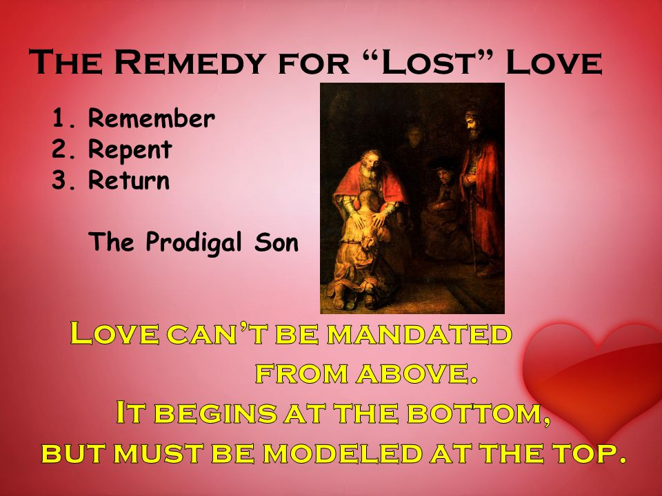 The Remedy for Lost Love 1.Remember 2.Repent 3.Return The Prodigal Son