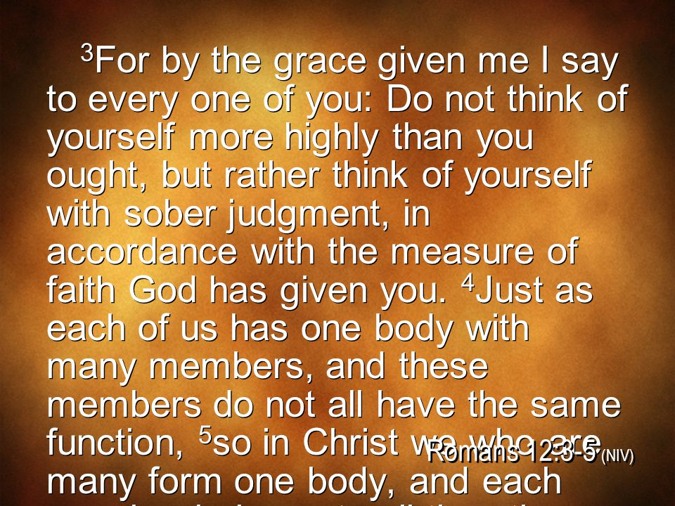 3 For by the grace given me I say to every one of you: Do not think of yourself more highly than you ought, but rather think of yourself with sober judgment, in accordance with the measure of faith God has given you.