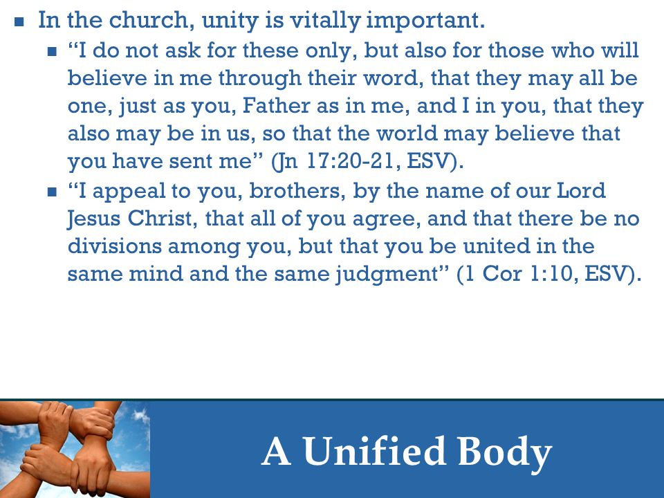 A Unified Body The apostles and prophets are the foundation of the church in that the church is built on their words.