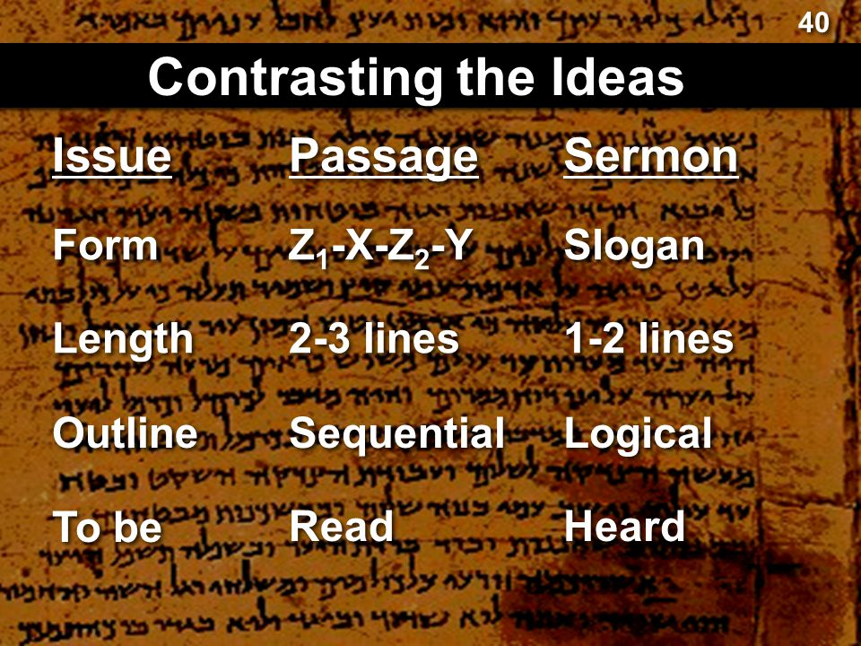 Passage Contrasting the Ideas Sermon Z 1 -X-Z 2 -Y Slogan 2-3 lines 1-2 lines Sequential Logical Read Heard 40 Issue Form Length Outline To be