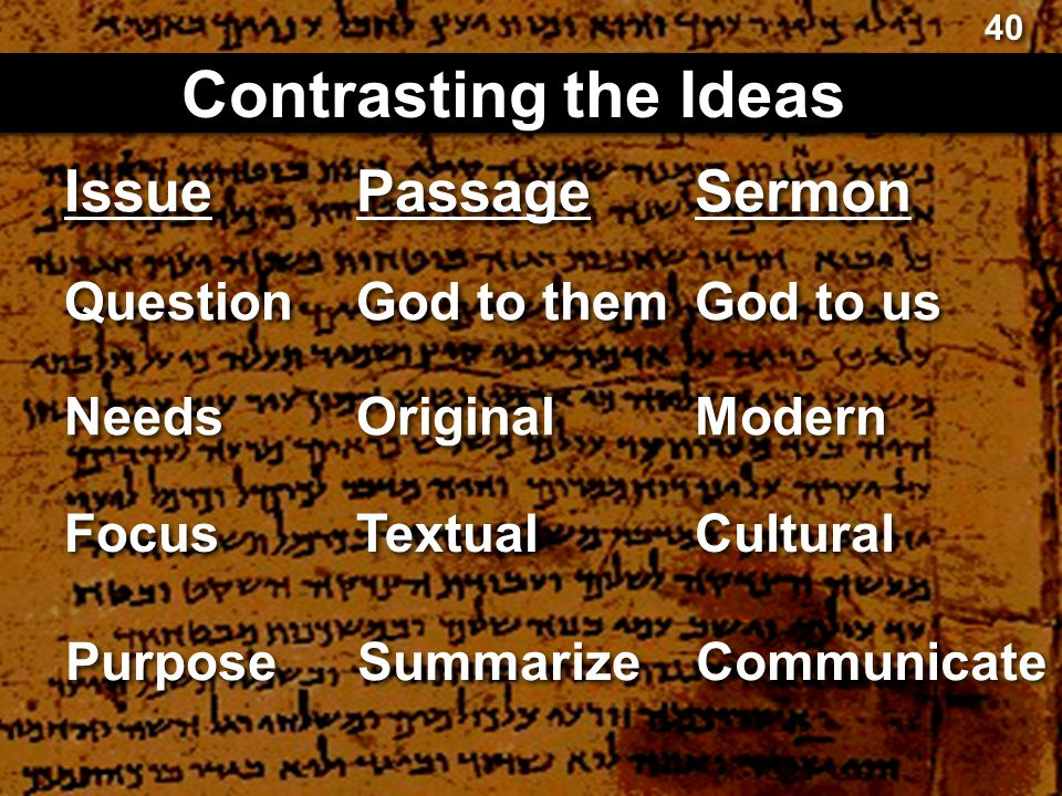 Passage Contrasting the Ideas Sermon God to them God to us Original Modern Textual Cultural 40 Issue Question Needs Focus Summarize Communicate Purpos
