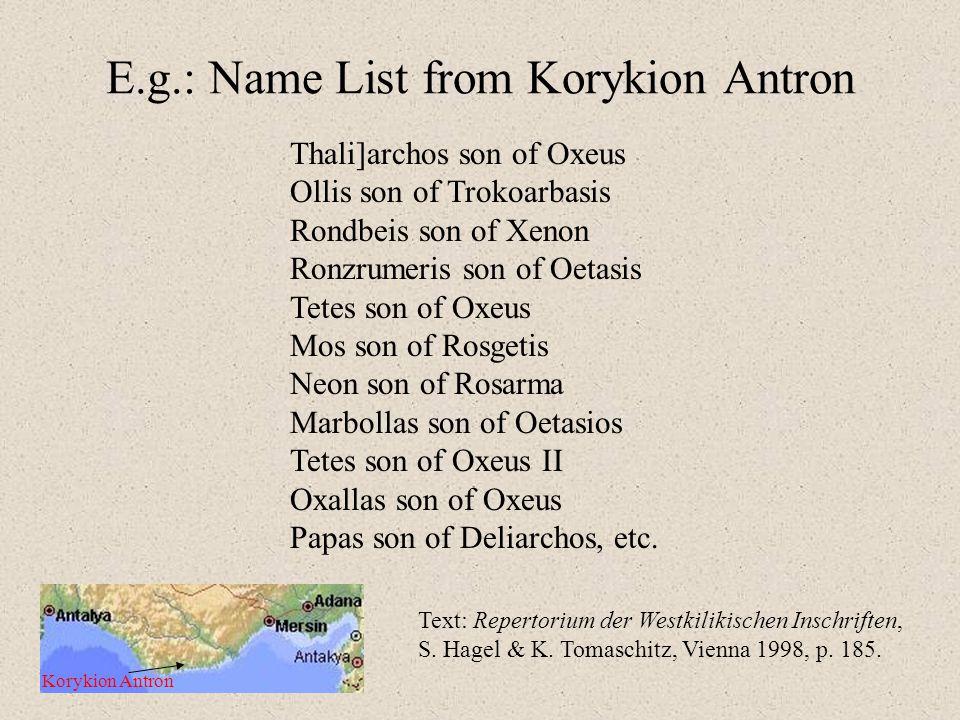 E.g.: Name List from Korykion Antron Korykion Antron Thali]archos son of Oxeus Ollis son of Trokoarbasis Rondbeis son of Xenon Ronzrumeris son of Oetasis Tetes son of Oxeus Mos son of Rosgetis Neon son of Rosarma Marbollas son of Oetasios Tetes son of Oxeus II Oxallas son of Oxeus Papas son of Deliarchos, etc.