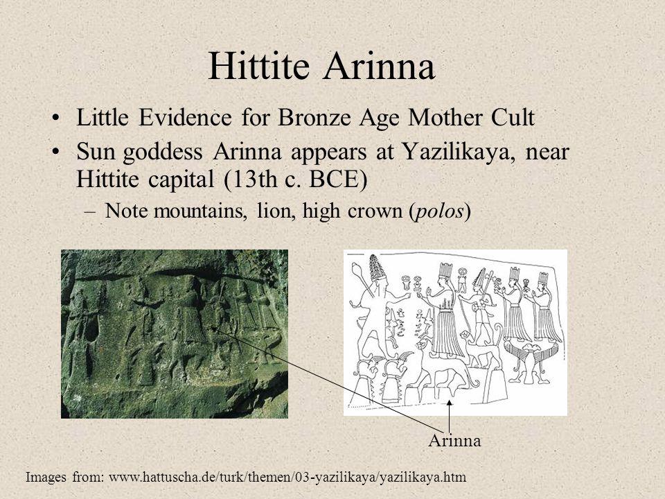 Hittite Arinna Little Evidence for Bronze Age Mother Cult Sun goddess Arinna appears at Yazilikaya, near Hittite capital (13th c. BCE) –Note mountains