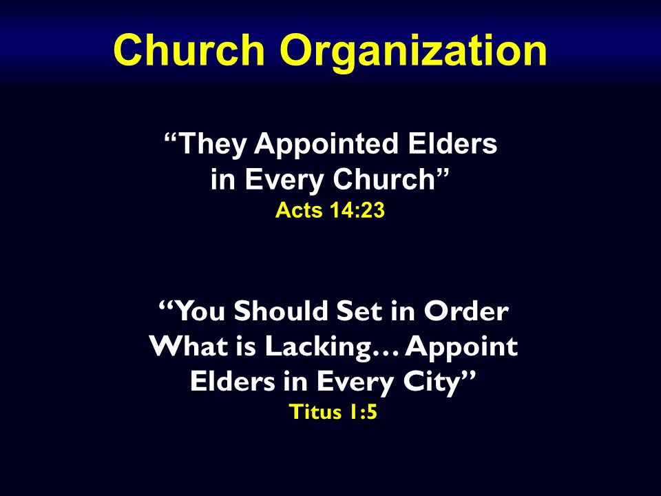 They Appointed Elders in Every Church Acts 14:23 You Should Set in Order What is Lacking… Appoint Elders in Every City Titus 1:5 Church Organization