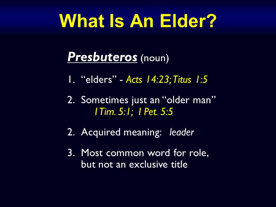 Episkopos (noun; Acts 20:28) 1.guardian, overseer (bishop) 2.Used 5 times in the NT: Acts 20:28 – the Ephesian elders – hath made you overseers Phil.