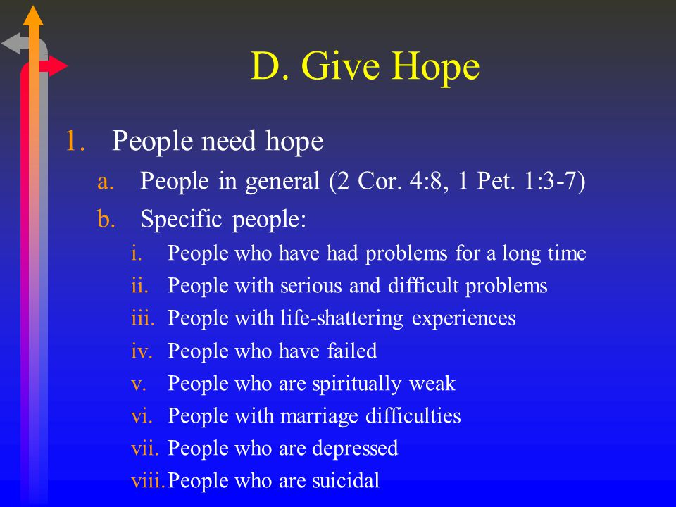 D. Give Hope 1.People need hope a.People in general (2 Cor.