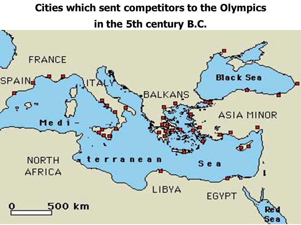 Cities which sent competitors to the Olympics in the 5th century B.C.