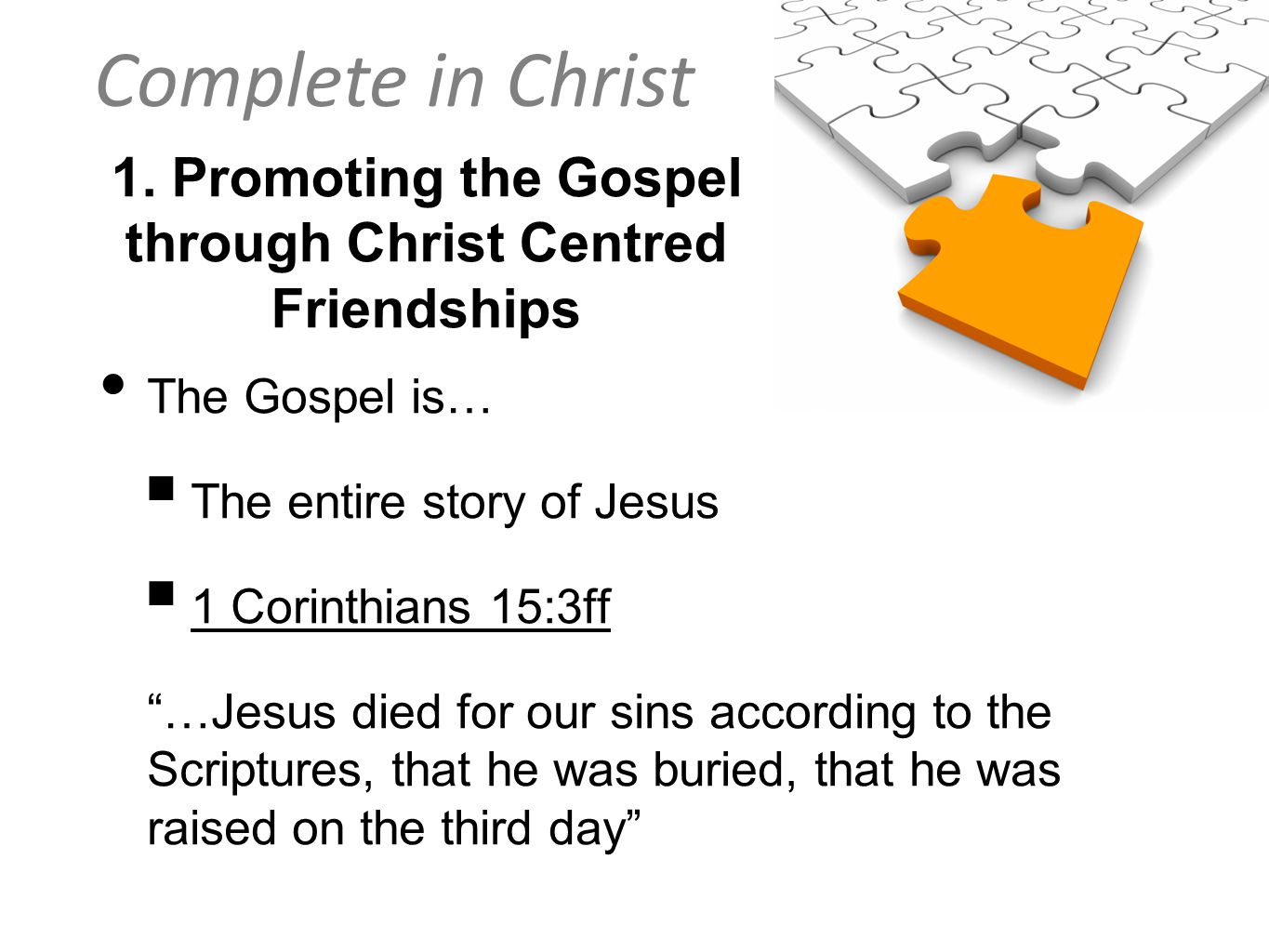 Complete in Christ 1.