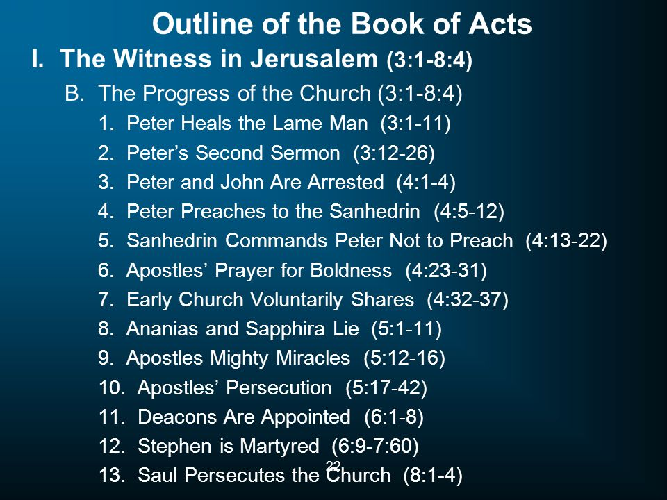 22 Outline of the Book of Acts I. The Witness in Jerusalem (3:1-8:4) B. The Progress of the Church (3:1-8:4) 1. Peter Heals the Lame Man (3:1-11) 2. P