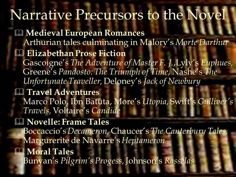 Narrative Precursors to the Novel  Medieval European Romances Arthurian tales culminating in Malory's Morte Darthur  Elizabethan Prose Fiction Gasco