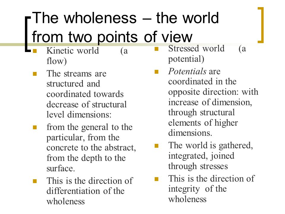 The wholeness – the world from two points of view Kinetic world (a flow) The streams are structured and coordinated towards decrease of structural level dimensions: from the general to the particular, from the concrete to the abstract, from the depth to the surface.