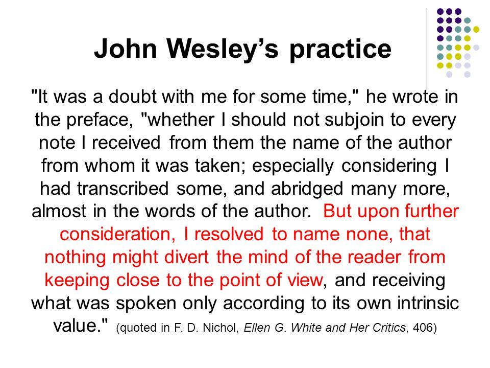 John Wesley's practice