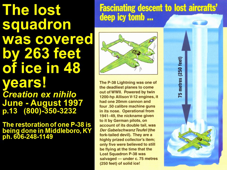 The lost squadron was covered by 263 feet of ice in 48 years! Creation ex nihilo June - August 1997 p.13 (800)-350-3232 The restoration of one P-38 is