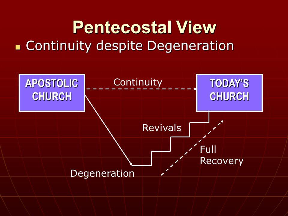 APOSTOLIC CHURCH Pentecostal View Continuity despite Degeneration Continuity despite Degeneration Full Recovery TODAY'S CHURCH Continuity Degeneration Revivals