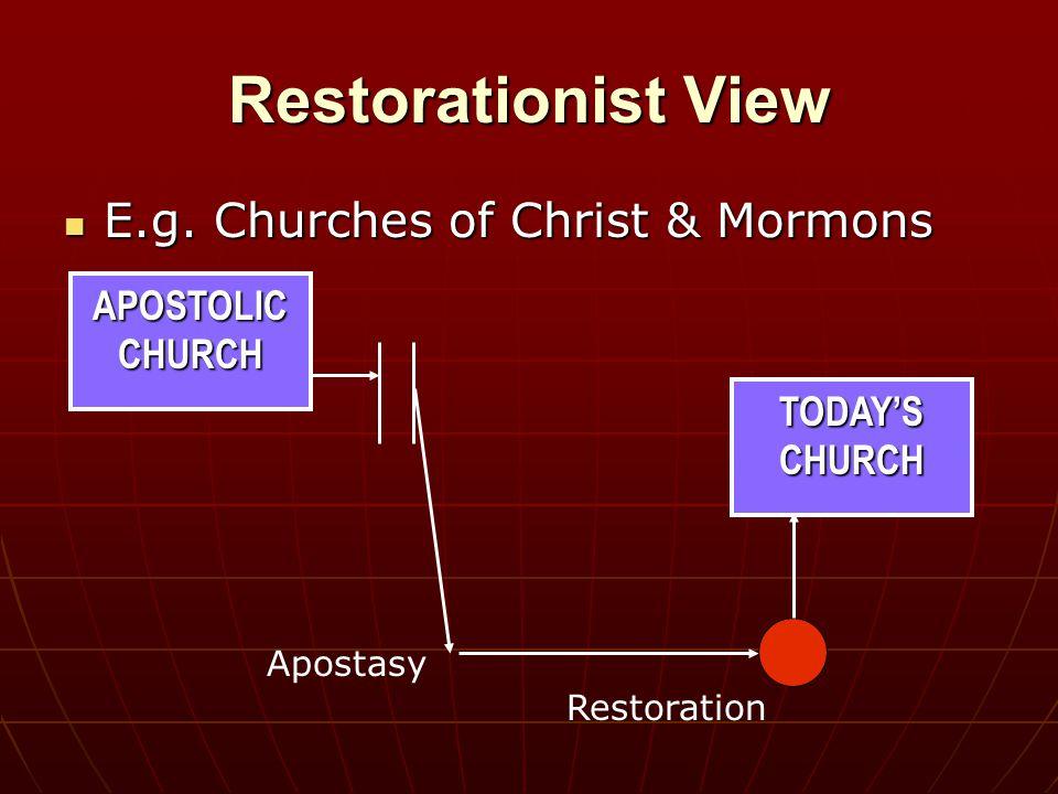 APOSTOLIC CHURCH Restorationist View E.g. Churches of Christ & Mormons E.g.