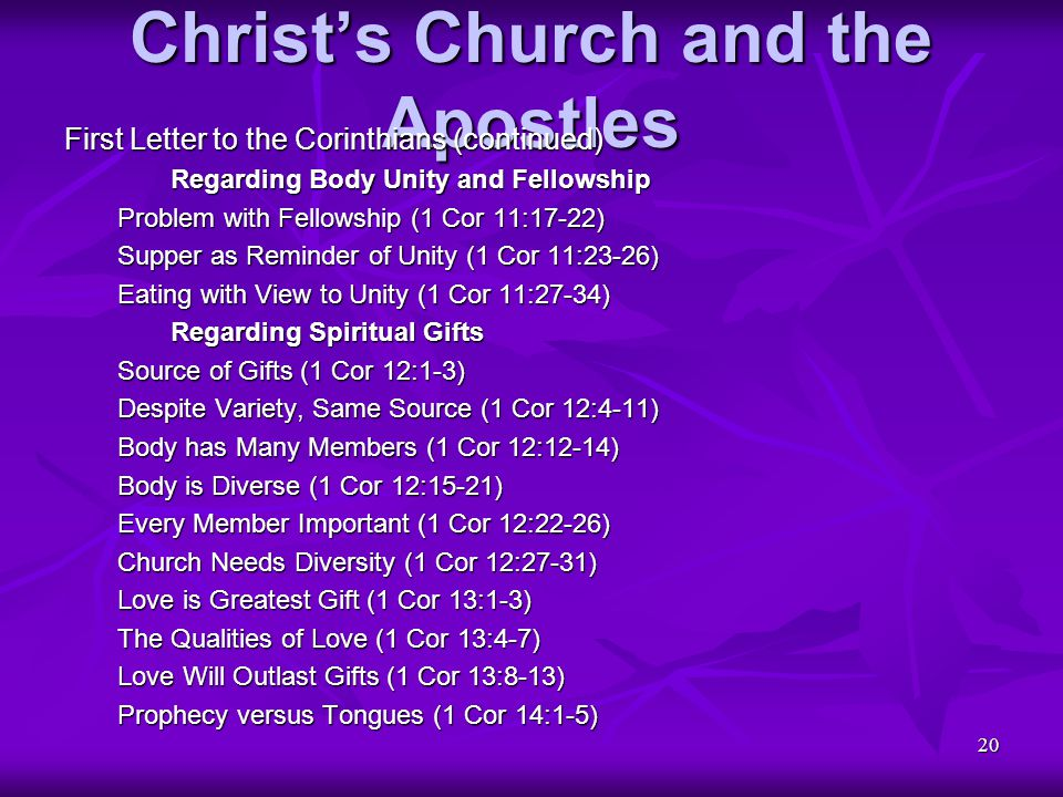 20 Christ's Church and the Apostles First Letter to the Corinthians (continued) Regarding Body Unity and Fellowship Problem with Fellowship (1 Cor 11: